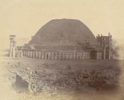 General view of the Great Stupa from the south-east, showing repairs, Sanchi, Bhopal State